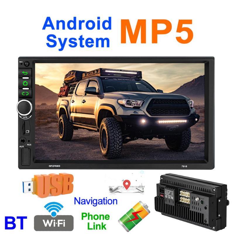 Le plus nouveau 7918 7 pouces Android 8.1 Quad Core voiture stéréo GPS Navigation MP5 lecteur bluetooth WiFi USB Radio récepteur écran tactile