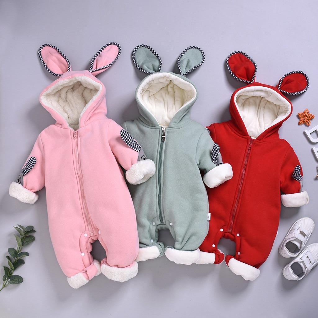 Infant Baby kleidung Overalls für kinder winter overall nette Mit Kapuze комбинезон детский Strampler feste Plus samt Overall #4