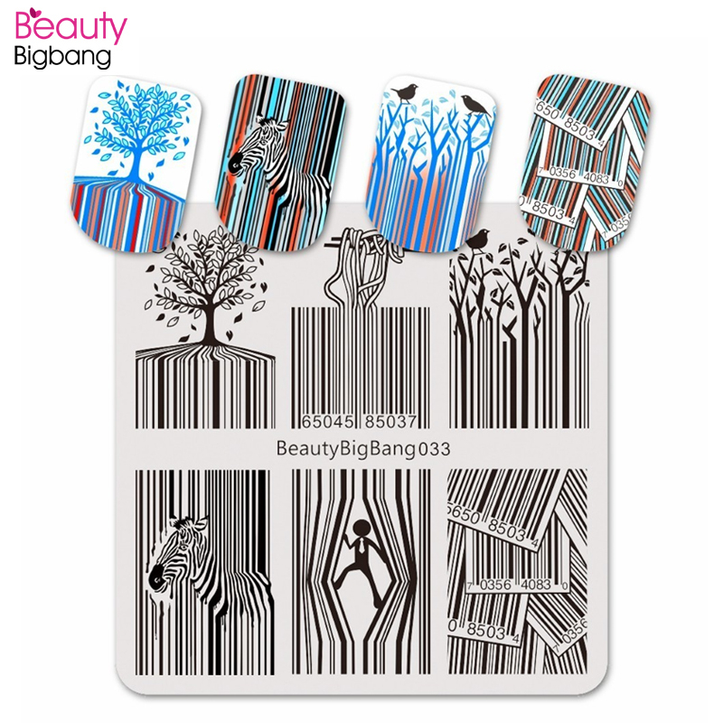 Beauty Big Bang Stamping Plate Bar Code Zebra Striped Funny Noodles Image for Nail Art Polish Stainless Steel Stamping Plates-in Nail Art Templates from Beauty & Health