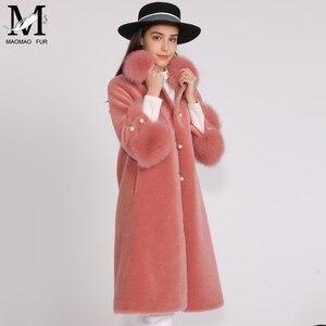 Image 3 - MAOMAOFUR الصوف معطف المرأة فراء ثعلب حقيقي طوق صفعة الدافئة أبلى السيدات جديد أزياء نمط طويل حقيقية الأغنام الفراء سترة