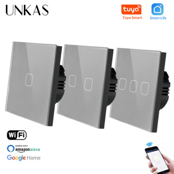 UNKAS EU Standard 1/2/3 Gang Tuya/Smart Life WiFi Wall Light Touch Switch for Google Home Wireless Control Touch Light Switch 1