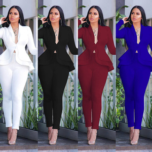 New Women Winter Women's Set Tracksuit Full Sleeve Ruffles Blazers Pencil Pants Suit Two Piece Set Office Lady Outfits Uniform