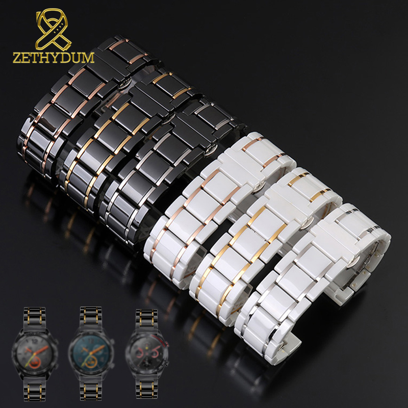 Metal With Ceramic Watch Band For Huawei Watch GT 2 Strap Quick Release Bar Watchband 14 15 16 17 18 19 20 22mm Watch Bracelet