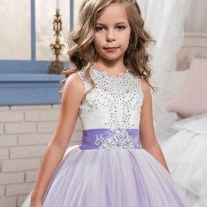 Image 3 - אלגנטי פרח ילדה שמלות 2020 סגול אפליקציות שרוולים ילדים נסיכת לחתונות ראשית הקודש שמלות תחרות שמלות