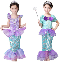 Halloween Costume Girl Little Mermaid Dress Princess Ariel Costume Kids Party Birthday Fantasy Cute Dresses Children Mermaid wig