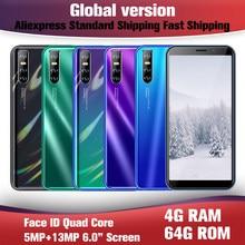 9A Smartphones Quad Core Globale Handys Android 4G RAM 64G ROM Telefon 6,0 zoll Handys 13MP Gesicht ID Entsperrt Celulares