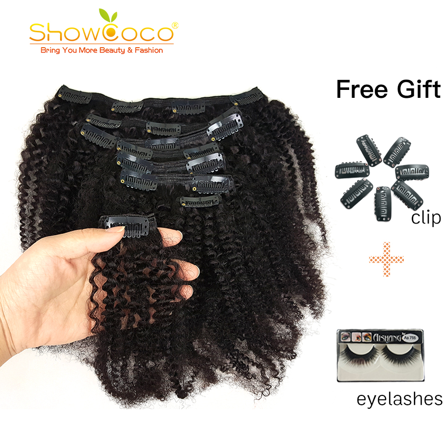 Showcoco Mongolian Kinky Curly Hair 8pcs  Afro Clip In Real Human Hair Extension Machine-made Remy 125G