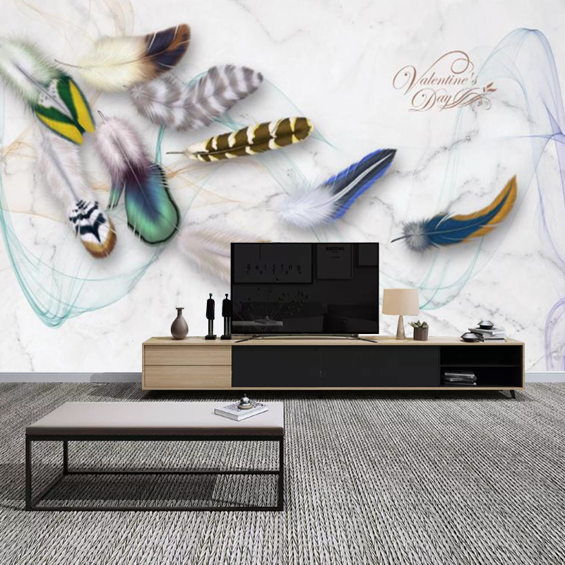 Fashion Color Feather Retro TV Backdrop Beautiful Elegant Living Room Bedside Bedroom Sofa Decoration Mural