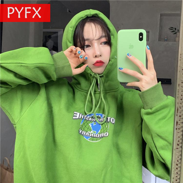 Autumn 2019 Web Celebrity Matcha Green Long Sleeve Hoodies Women Simple Lovely Young 2xl Size Sweatshirt Conspicuous Gingham Top