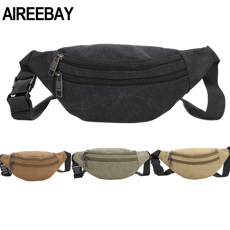 AIREEBAY Men Waist Bag Casual Functional Money Phone Pouch Belt Bag Women Bag for Belt Canvas Hip Bag Fanny Pack Banana bag(China)