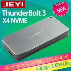 JEYI thunderbolt 3 m.2 nvme Box mobile della cassa della scatola NVME PER TYPE-C di alluminio TIPO di C3.1 m. 2 USB3.1 M.2 U.2 PCIE SSD LEIDIAN-3