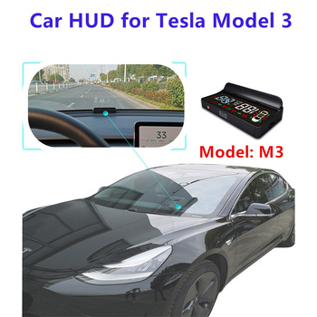 Car Digital HUD Speeeter Head Up Display Speed Turning Light Gear Projector for Tesla Model 3 image