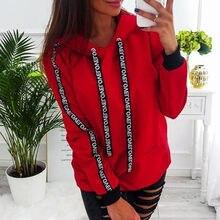 2019 kadın sonbahar kazak kadınlar uzun kollu katı kapşonlu kazak Tops bluz mektubu baskı Hoodies kadın artı boyutu 5XL # B