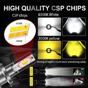 Image 3 - BraveWay 3000K + 6500K Led سيارة المصابيح الأمامية H7 LED H4 H8 H9 H11 المزدوج LED مصباح تلقائي متعدد الألوان الضباب أضواء دراجة نارية المصابيح