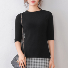 wool t-shirt women black knitted pullover hollow female T-shirt half sleeves spring fashion tops round neck short slim pullover