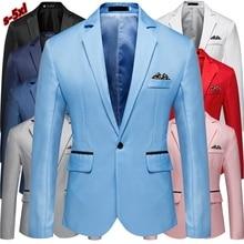 Men Slim Fit Office Blazer Jacket Fashion Solid Mens Suit Jacket Wedding Dress Coat Casual Business Male Suit Coat