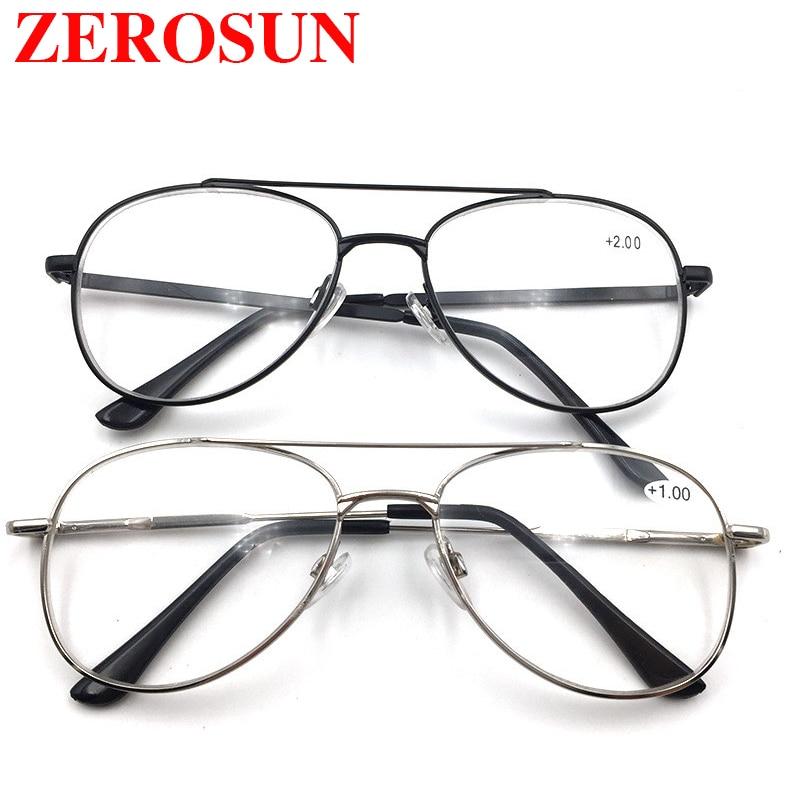 Zerosun Reading Glasses Men Women Alloy Diopter Eyewear Man Near Read Walk Presbyopia Hyperopia Magnifier Aviation Points