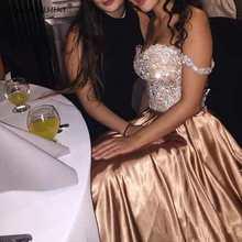 Sparkly Gold Off The Shoulder Wedding Party Dress For Women Formal Evening Dresses