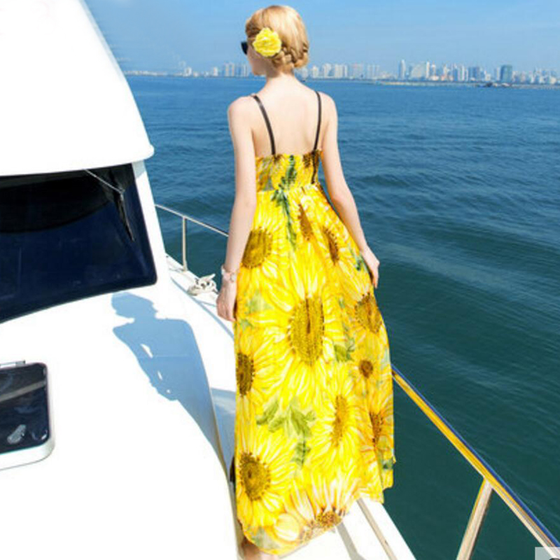 Silk <font><b>dress</b></font> Long Women Beach <font><b>dress</b></font> 100% Natural Silk Print <font><b>dress</b></font> summer <font><b>Sunflower</b></font> <font><b>Yellow</b></font> Maxi <font><b>dress</b></font> Sleeveless Free Shipping image