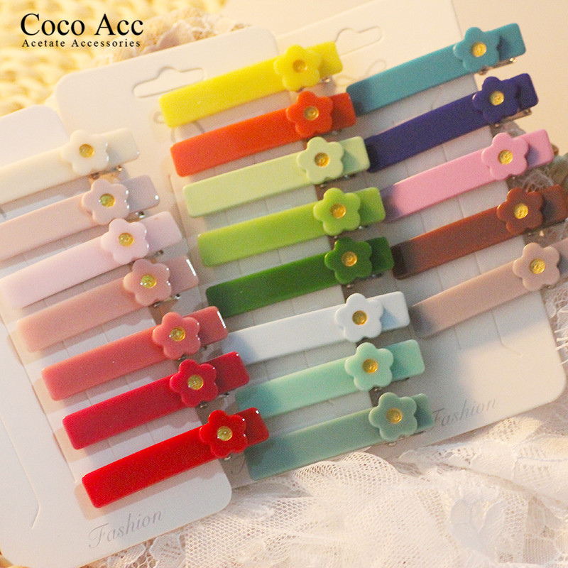 20 Colors Ins Hot Sale Acrylic Wholesale Flower Sweet Design Children's Barrettes Hair Accessories Cute Hair Clip For Baby Girls