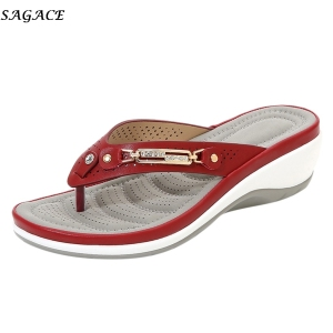 Sagace 2020 New Women Crystal Comfortable Flip Flops Wedges Slipper Sandals Casual Indoor&outdoor High Quality Shoes