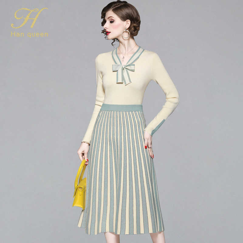 H Han Queen France Style Romantic Knitted Suits Women Autumn Patchwork 2 Pieces Set Bow Neck Knitting Pullovers & Pleated Skirts
