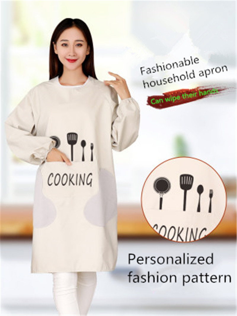 Hand Wipe Kitchen Long Sleeves Household Waterproof Oil-proof Apron Cooking Jacket Chinese Style Femal Adult Custom Print Words