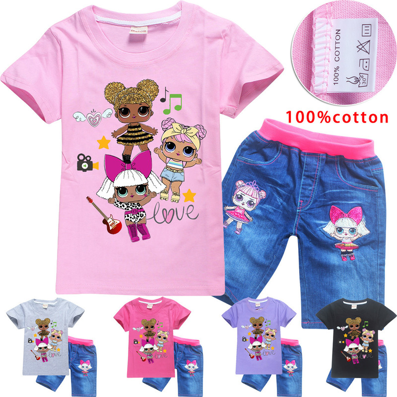 Cotton <font><b>Baby</b></font> Girls L.O.L Clothes Summer <font><b>Tshirt</b></font>+jeans Clothing <font><b>Set</b></font> 2pcs Cartoon Print Short Sleeve Children Clothes Casual image