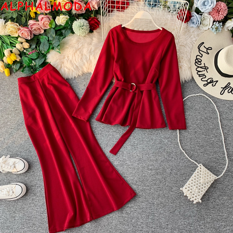 ALPHALMODA Fashion Suit Long-sleeved Pullover Sashes Outfit + Flare Leg Ladies 2pcs Pants Suits Solid Autumn Clothes Set
