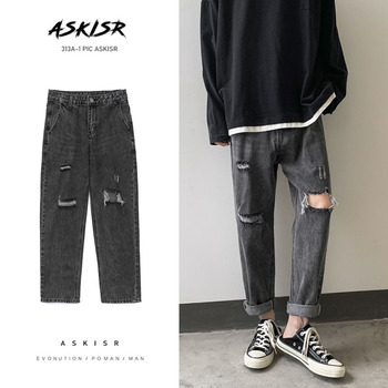Ripped Straight Jeans Men's Fashion Washed Casual Retro Jeans Pants Men Streetwear Loose Hip-hop Hole Denim Trousers Mens S-2XL straight jeans men s fashion washed casual retro ripped jeans pants men streetwear wild loose hip hop ripped denim trousers mens