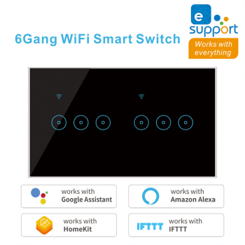 WiFi Smart Switch Tuya eWeLink 4 5 6 Gang Glass Touch Panel Wall Switch Wireless Control Alexa Google Home Compatible 95-240V AC 100v 240v ac 2 gang 2 way switch rfid wireless 30m remote control touch screen light switch panel 2 wireless receivers