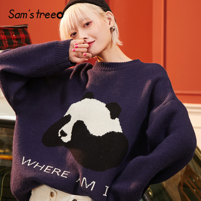 SAM'S TREE Orange Solid Panda Print Korean Knit Pullovers Women Sweaters 2020 Winter Navy Blue Pure Loose Downy Cute Female Top