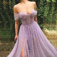 Charming Pearls Purple Evening Dresses 2019 Off Shoulder Long Evening Gown Elegant Side Sleeves Open Slit A line Prom Dresses