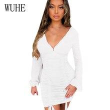 цены на WUHE Sexy Bandage Hollow Out Dress Women Fashion Deep V-neck Long Sleeve Bodycon Party Club Dress Mini Wrap New Arrivals Dress в интернет-магазинах