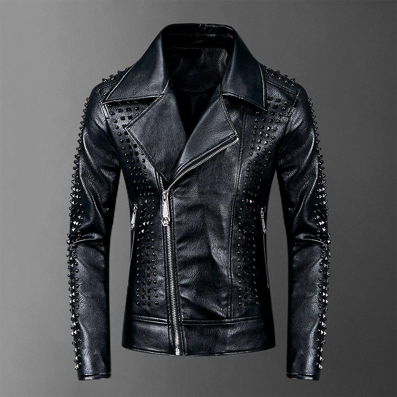 2019 Rivets PU Jackets Men Black Slim Turn-down Neck Zipper Full Streetwear Motorcycle Faux Leather Coats Casacas Para Hombre