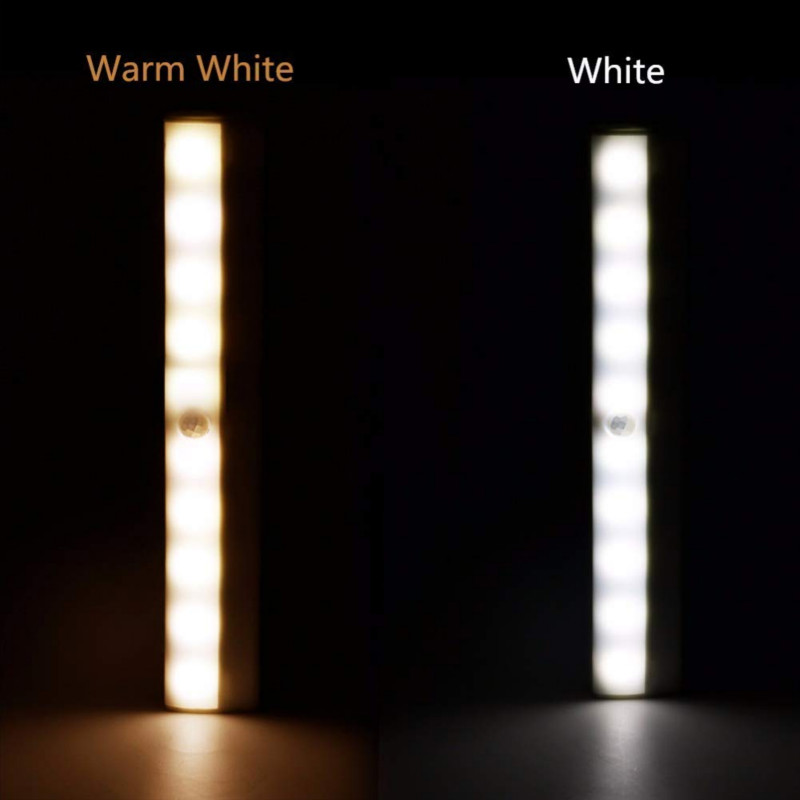 1pc Wireless LED Cabinet Lights 10 LEDs Light Bar Closet Light White Motion Sensor Activated Night Light For Kitchen Desk Stairs