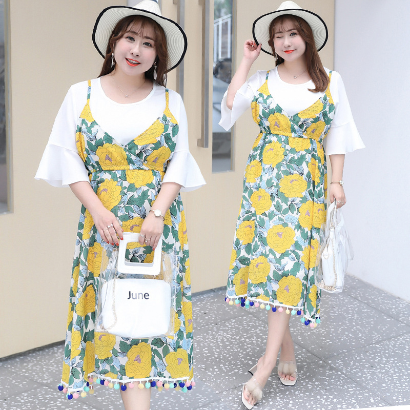 2019 Summer New Products Large Size Dress Chiffon Dress Sweet Mock Two-Piece Skirt Fat Mm Dress On Behalf Of 1344
