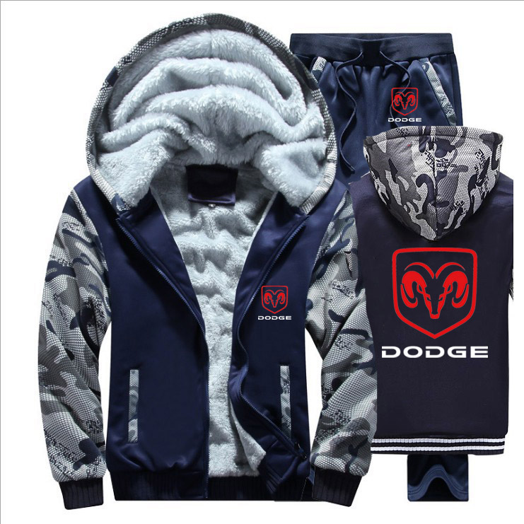 Winter Hoodies Men Dodge Car Logo Mens Hoodies Suit Thicken Warm Fleece Cotton Zipper Tracksuit Mens Jacket+Pants 2Pcs Sets