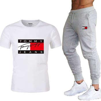 2021 darmowa wysyłka 2021 męska sportowa koszulka spodnie bawełna wysokiej jakości t-shirt odzież do joggingu Tommy #8217 s nowy letni styl tanie i dobre opinie VN (pochodzenie) Daily Jesień I Zima