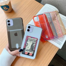 Clear Card Holder Phone Case For iPhone 12 Mini 11 Pro Max XS MAX XR X 6 6s 7 8 Plus Bumper Solid Color Credit Slot Back Cover