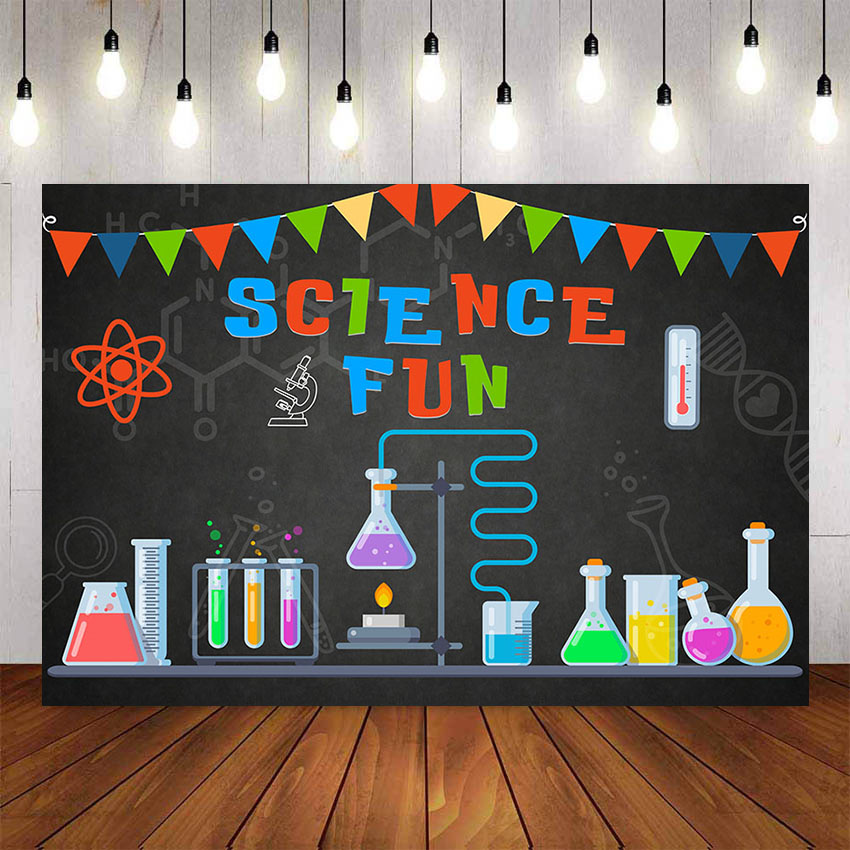 Photography Background Birthday Science Party Invitation Mad Scientist Invitations for Boys Photocall Backdrop Photo Studio image