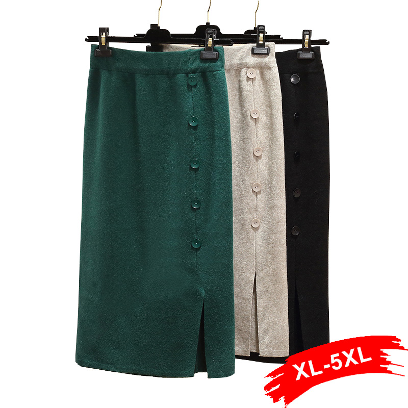 Plus Size Front Split Button Up Dark Green Office Lady Straight Knitted Skirts 4Xl 5Xl Women Mid Long Workwear Knitting Skirt
