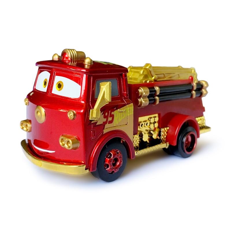 Arabalar Disney Pixar oyuncak yeni altın yangın kurtarma araba yıldırım McQueen Jackson fırtına Metal alaşımlı döküm çocuk araba oyuncak doğum günü hediyesi
