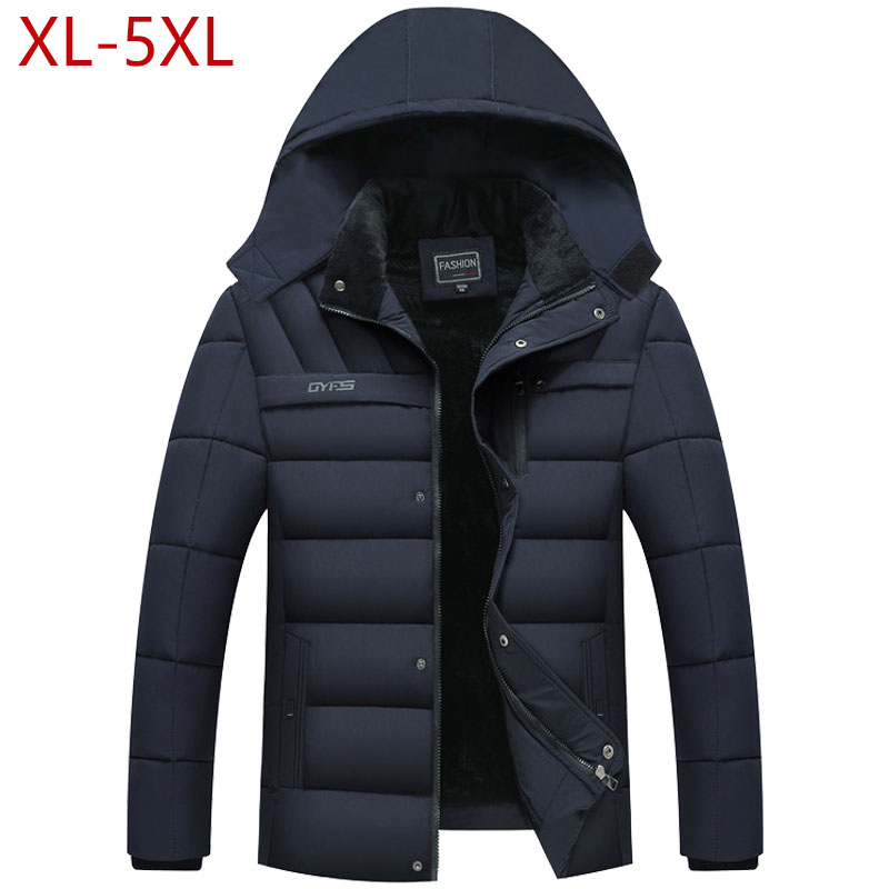 2019 Mens Winter Jacket Thickness Warm Hat Detachable Coat Simple Hem Practical Parkas Windproof Snow Cold Jacket Large Size 5XL