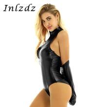 Latex Bodysuit Women's Lingerie Armbinder-Glove Shiny Hot Sexy Sleeveless Metallic Back