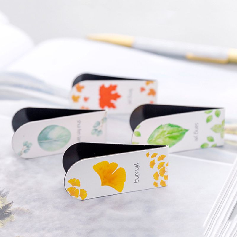 4pcs//set Autumn Leaf Simple Plant Magnetic Bookmark Book Marker Page Clip Office Supplies Student Stationery Souvenir Collection Kids Gift