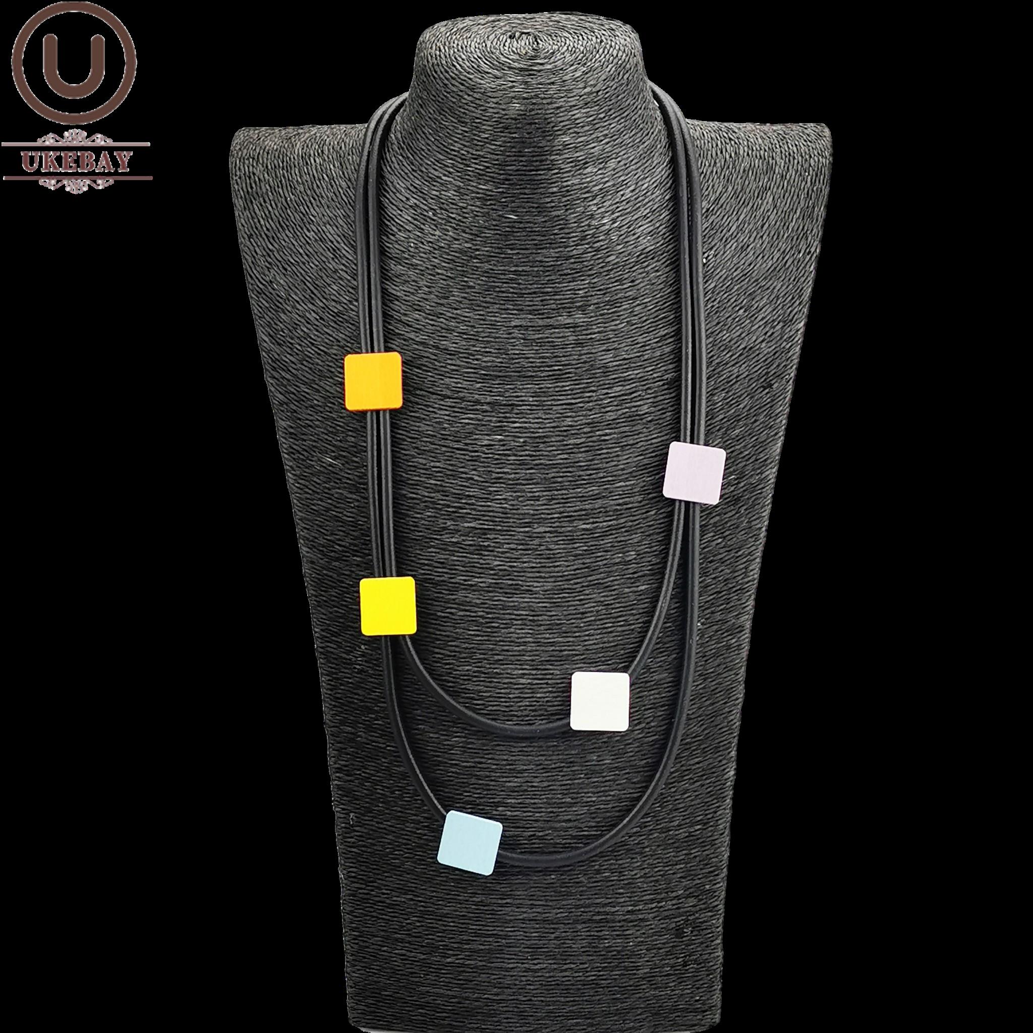 UKEBAY multicolore carré bois collier ras du cou femmes caoutchouc bijoux court chandail chaînes noir colliers vêtements accessoires cadeau