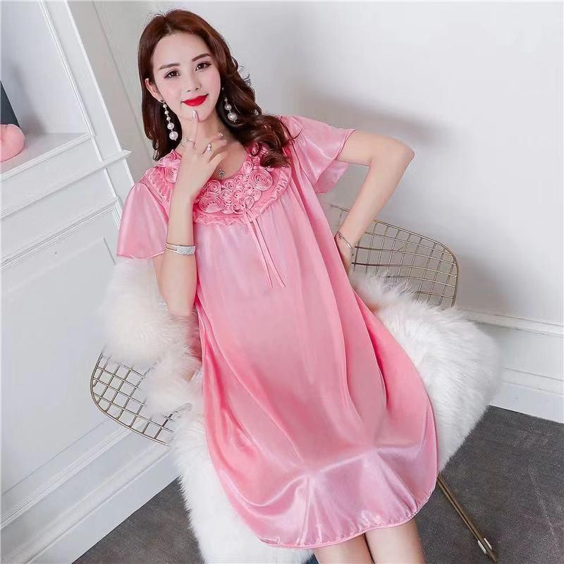 Women Nightgowns Sexy Satin Silk Soft Nightwear Plus Size S-XL Lace Sleepwear Dress Sexy Lingerie Robe Mini Homedress Nightdress 6