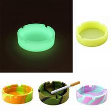 Многоцветный экологичный светящийся круглый мягкий силиконовый пепельница держатель портативный анти-обжигающий держатель для сигарет