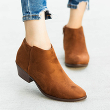 Women Chelsea Boots Side Zipper Pointed Toe Ankle Boots Ladies Low Chunky Heels Botas Mujer Winter Casual Botines mujer 2019 D25 mabaiwan suede ankle boots square toe zipper botines mujer high heels women pumps colorful lace short botas dress shoes woman